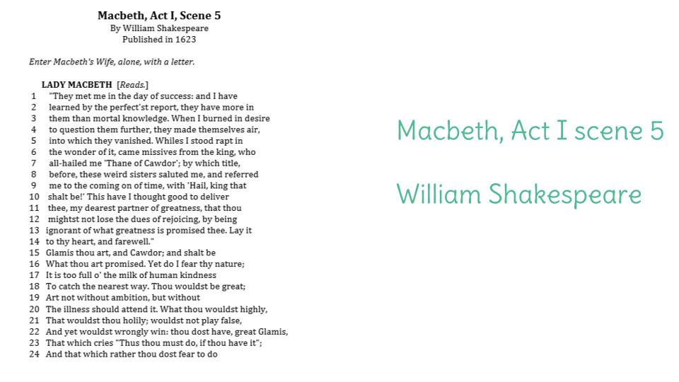 lady macbeth soliloquy oral essay