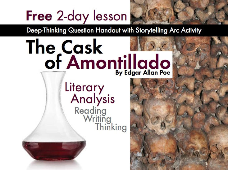 The Cask of Amontillado by Edgar Allan Poe, FREE 2-day lesson, lit. analysis and story-telling arc