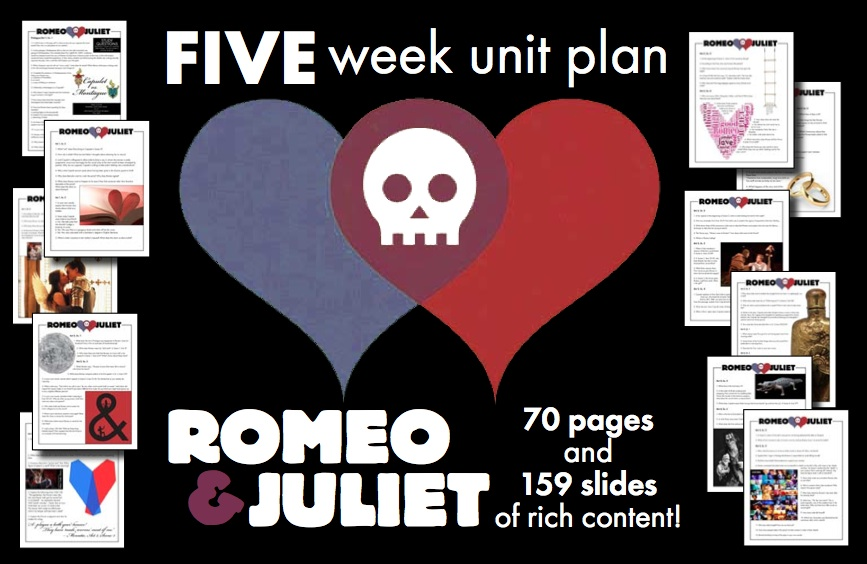 Romeo & Juliet Unit Plan, FIVE FULL WEEKS of Beautifully Designed Lessons