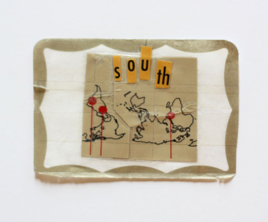 image: Southern Sources, 2.5x4inches, paper and adhesive tape on mailing label