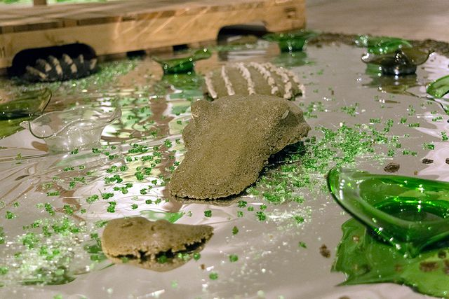 image: Alligator Snoot, Head, and Back, Olive- Bottle Glass