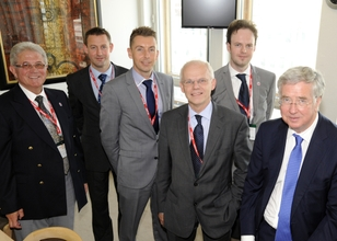 Made in the Midlands delegation in Westminster. From right to left:  Rt Hon Michael Fallon MP, Made in the Midlands Director Charles Addison, Made in the Midlands President John Faulkner, SSC Laser's Andy Hume, Graham Yeomans from Yeoman Pressings and Joh