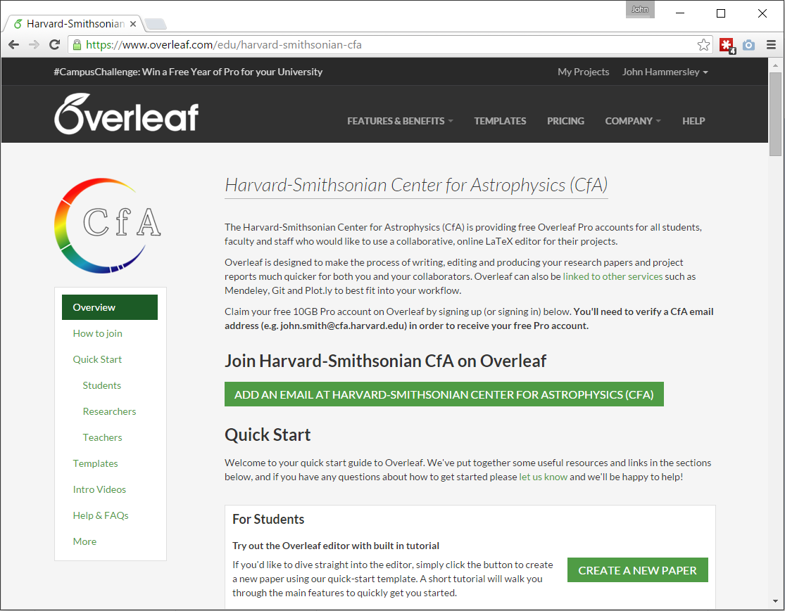 Harvard-Smithsonian CfA web portal on Overleaf screenshot