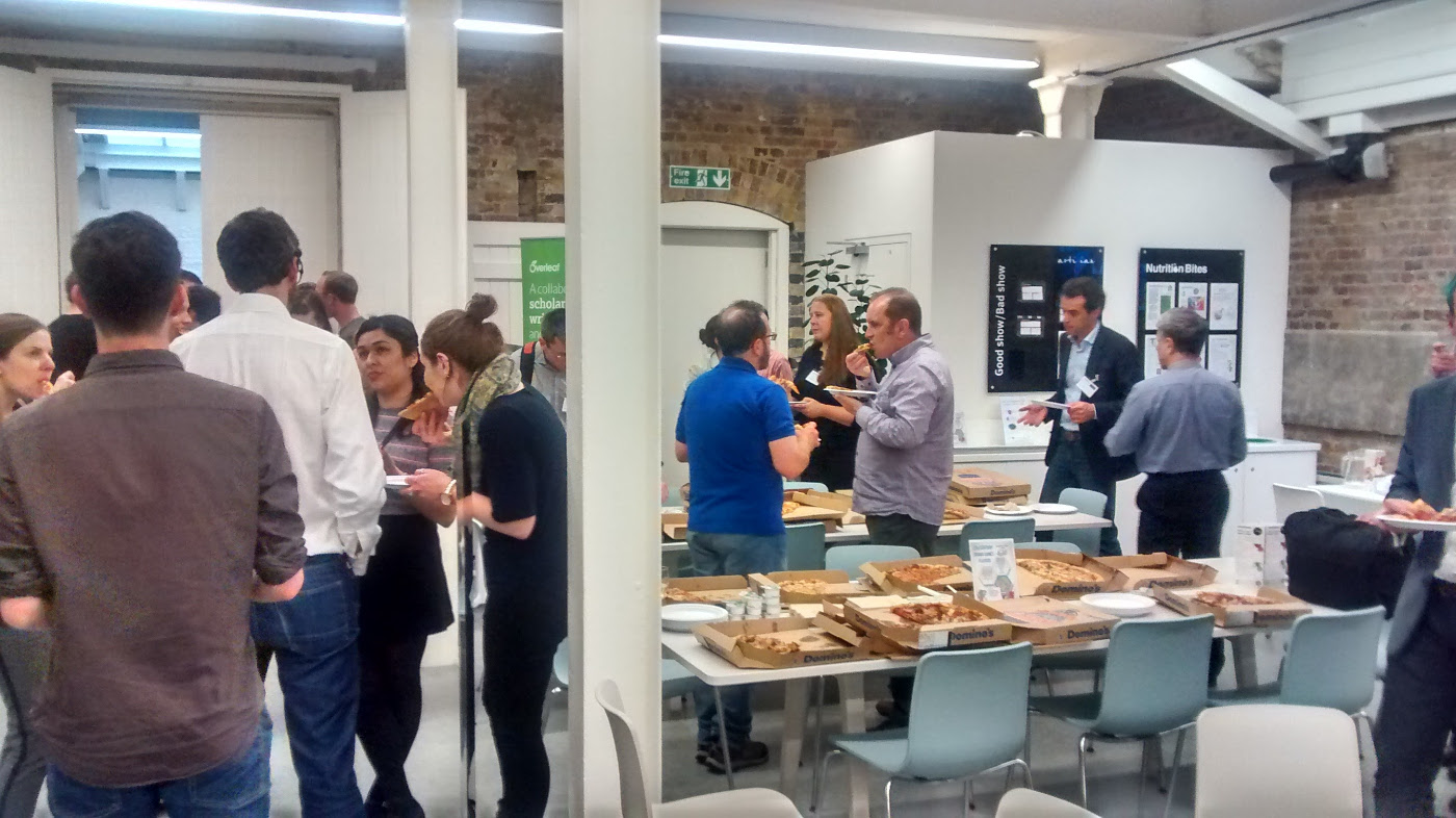 Pizza and networking at Overleaf's FuturePub 7 event on May 10th 2016