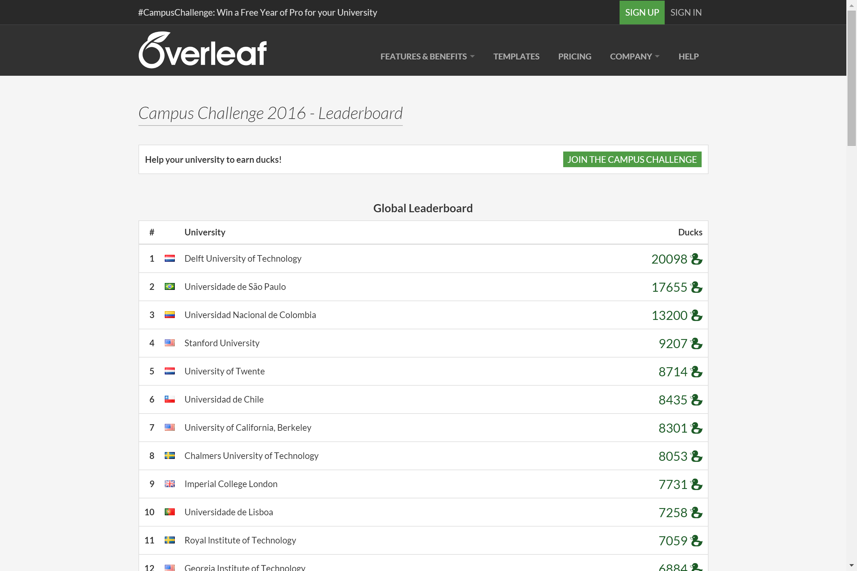 Overleaf Campus Challenge Table 10th March