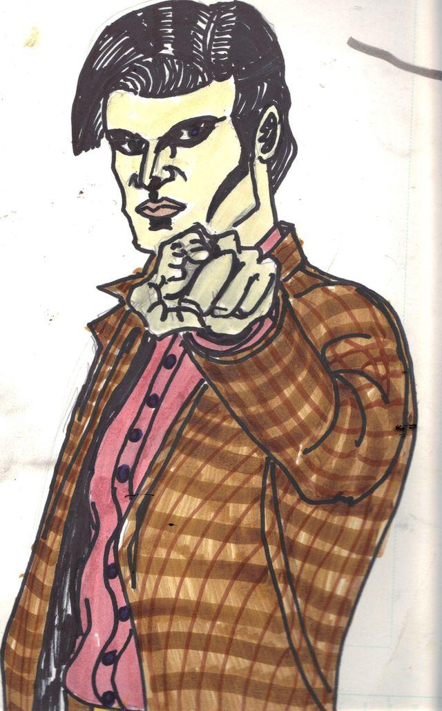 image: MATT SMITH. 11TH DOCTOR ON MANGA BRISTOL BOARD. INDIA INK. $15.00