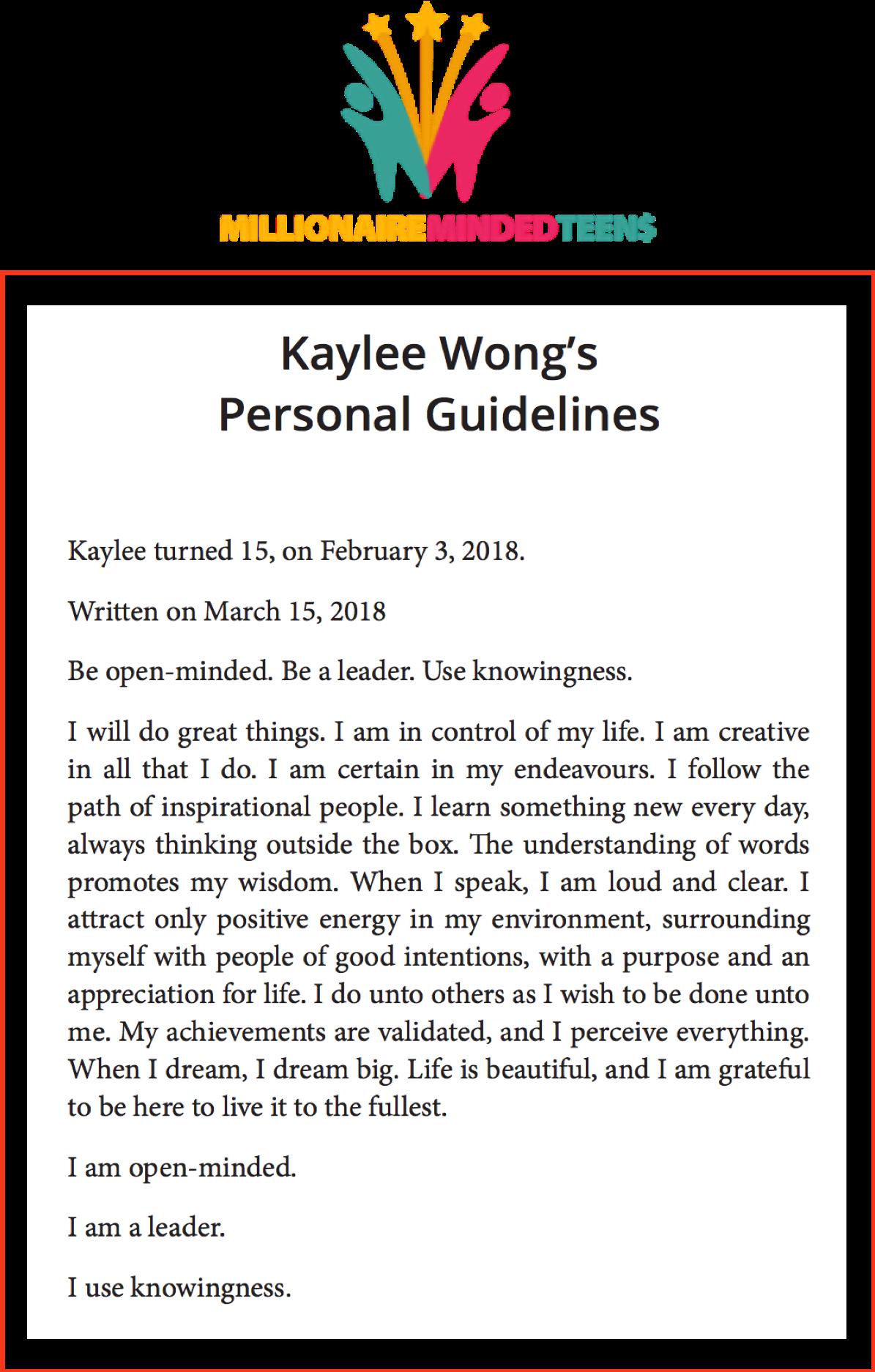 Kaylee's Guidelines 2018