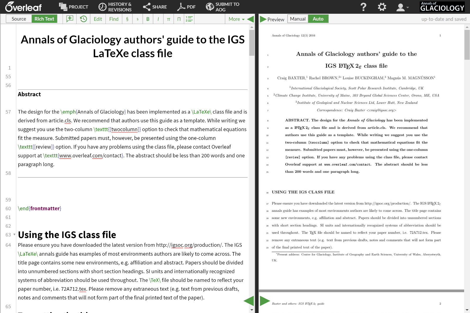 LaTeX template for the Annals of Glaciology (AOG) open in Overleaf rich text mode