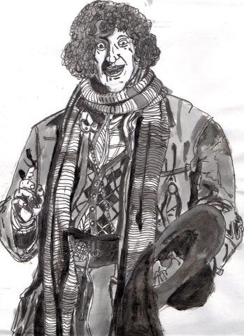 image: TOM BAKER; THE 4TH DOCTOR. 1974-1981. INDIA INK ON BRISTOL BOARD. ORIGINAL ART: 30 DOLLARS, PRINTS 15. DOLLARS.