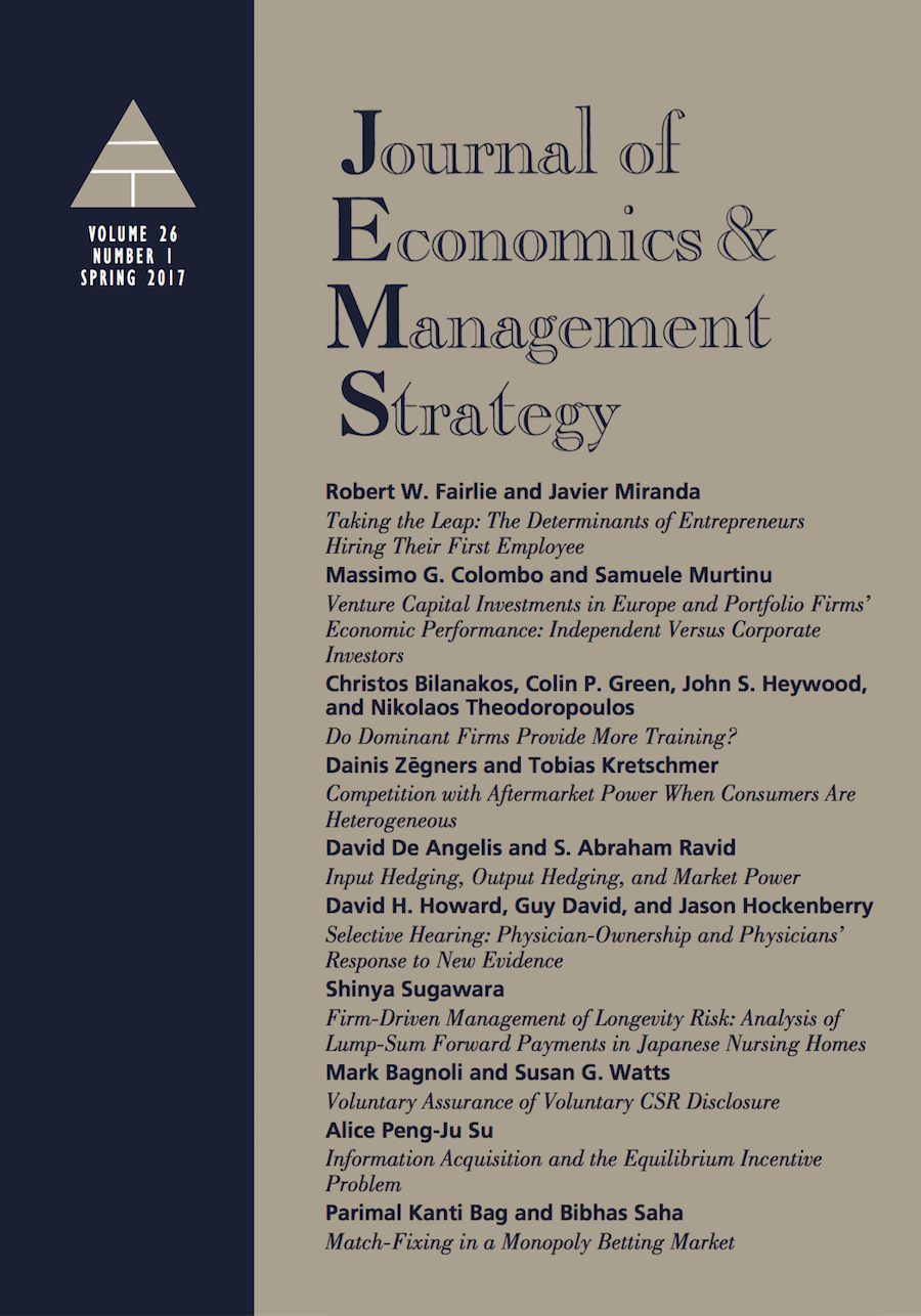 Template for submissions to Journal of Economics & Management Strategy