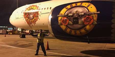 One lucky Changi Airport employee got a close-up look at the private jet of Guns N' Roses