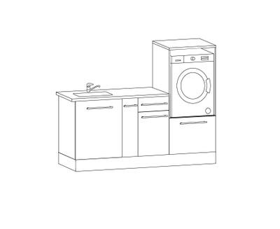 Vaskeromsinnredning, Forslag kombinasjon 190 cm