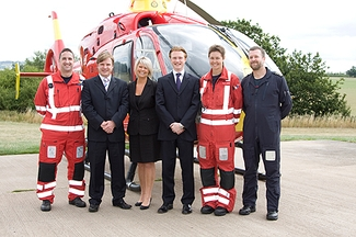 James Rousell, Susannah Griffiths and Philip Chapman of Wall James Chappell with Midlands Air Ambulance pilots and paramedics