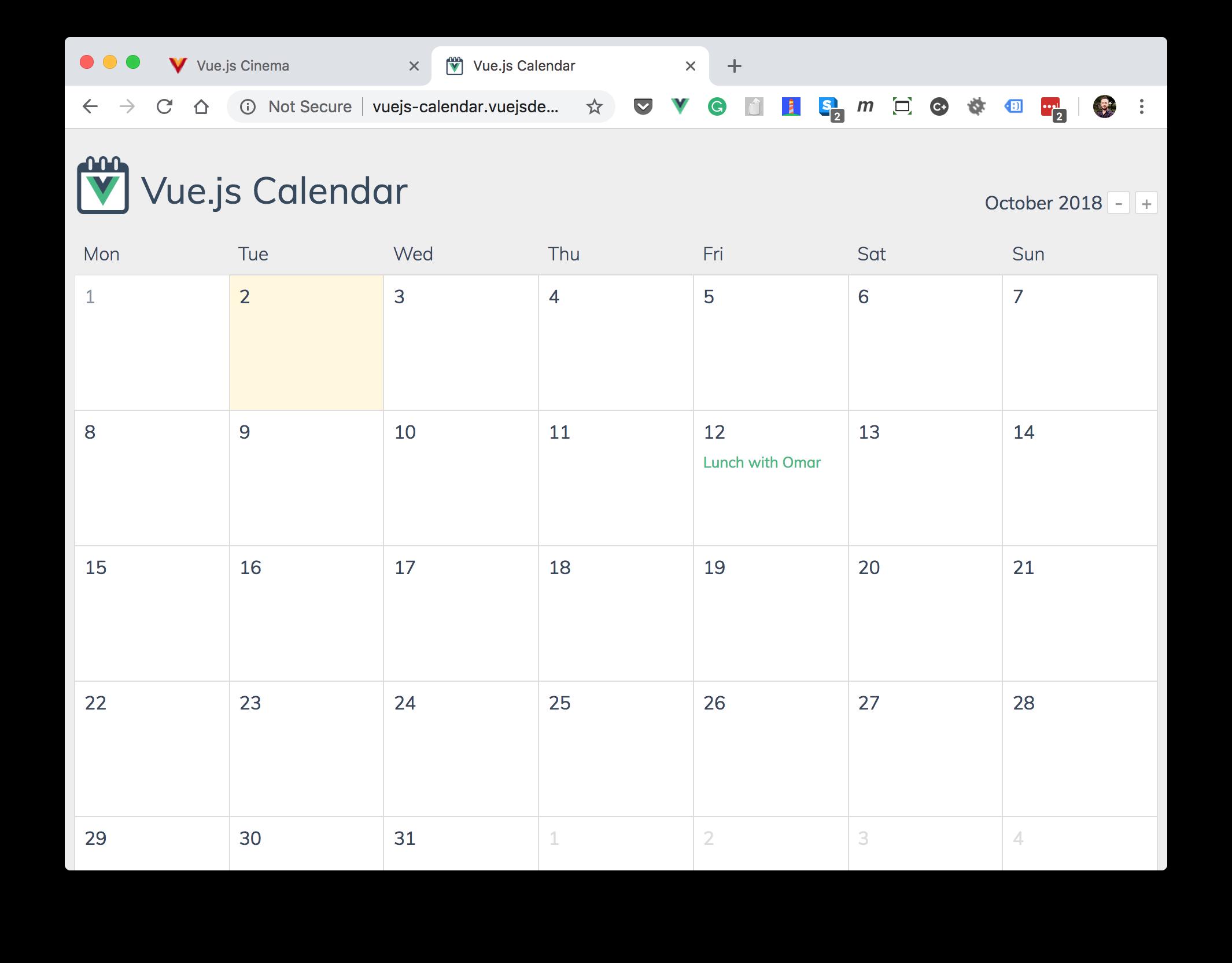 Vue.js Calendar