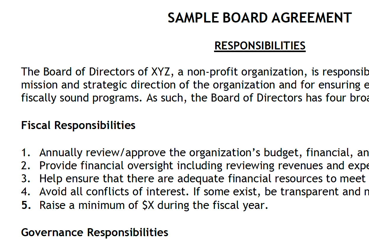 Snippet of a Board Agreement