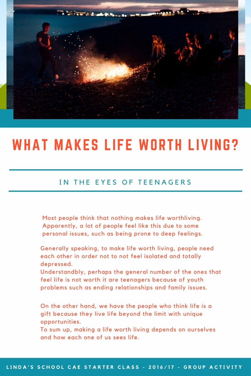 interactive focus what makes life worth living in the eyes of youth in this context students were asked to write a short essay type text where they shared what they felt makes life worth living