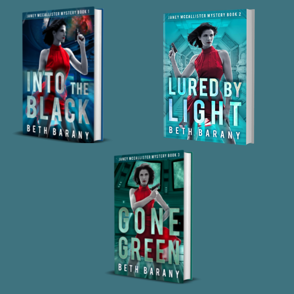 The Janey McCallister Mystery series, space station investigator, by Beth Barany