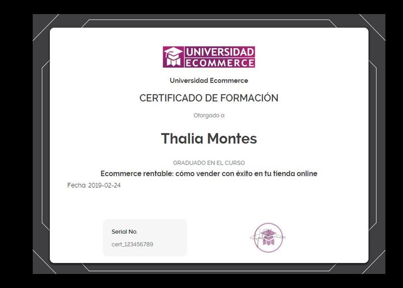 Diplomas de certificación de Universidad Ecommerce