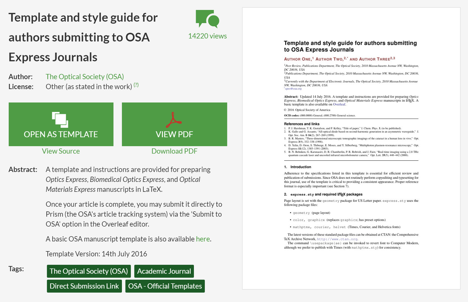 The new OSA Express template and style guide on Overleaf