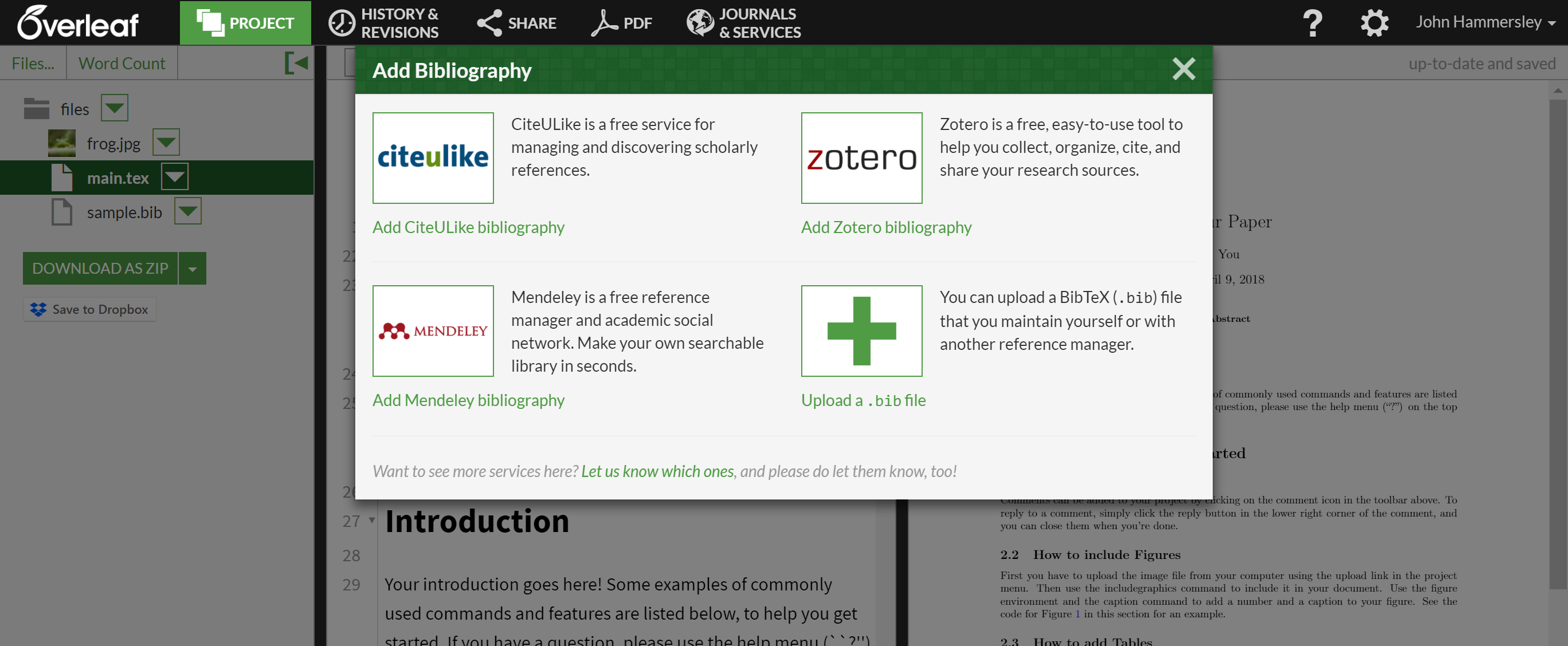 The bibliography import menu on Overleaf
