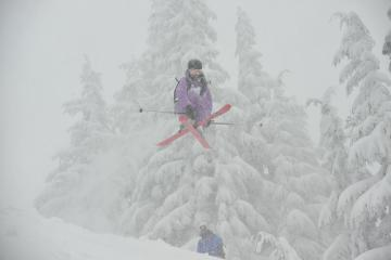 Pia crosses it up during our cat skiing day