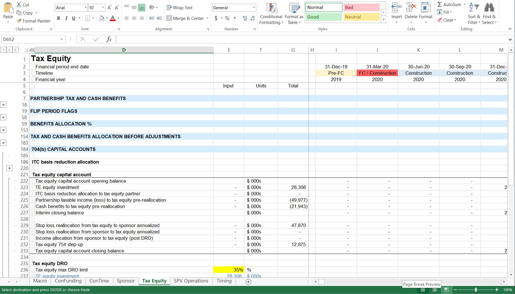 Financial model example