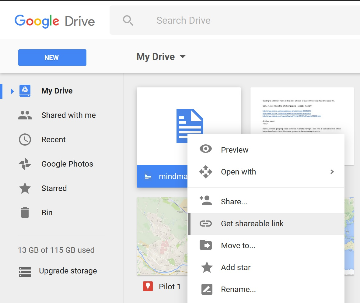 Google Drive turn on shareable link