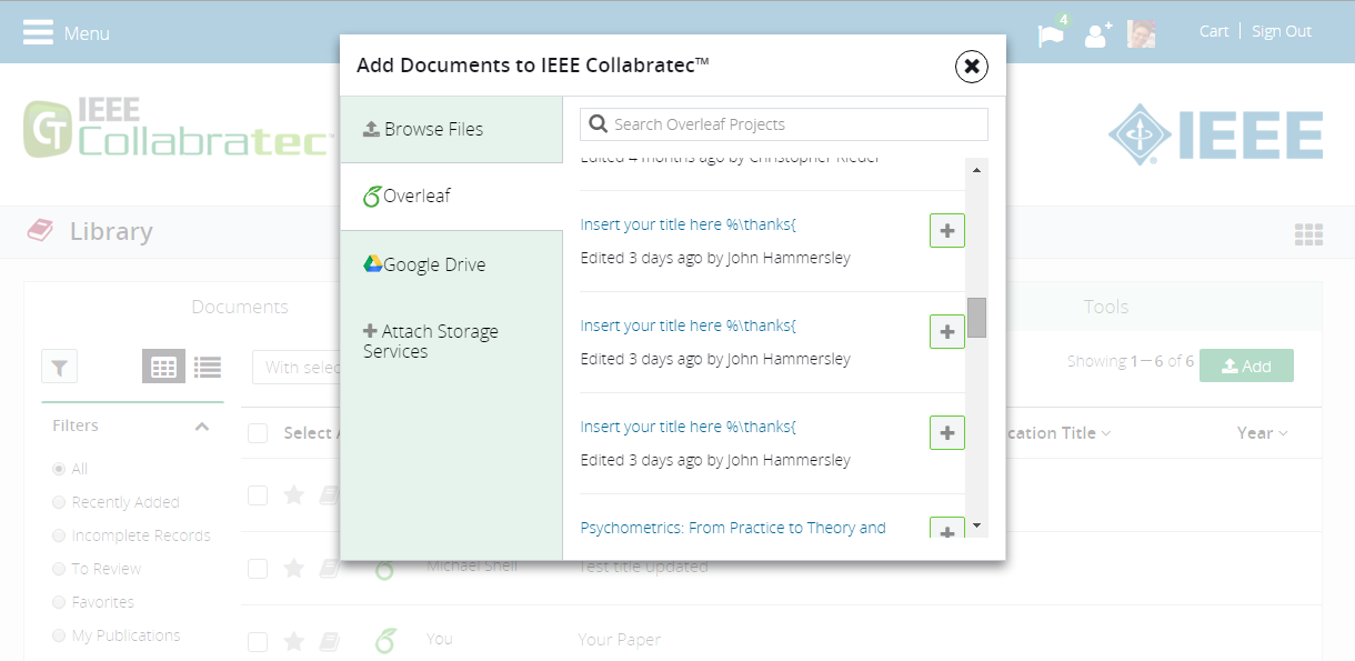 IEEE Collabratec screenshot showing how to browse and add Overleaf projects