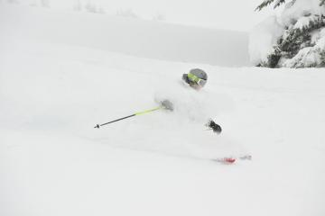 Rikke gets faceshots while cat skiing