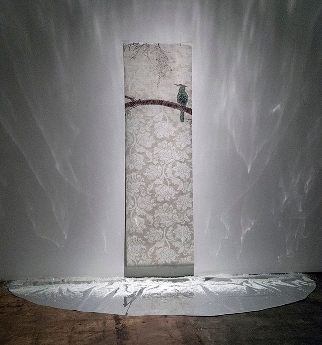 image: wall paper, pastels, mylar, crushed glass from Verdant Plunderland