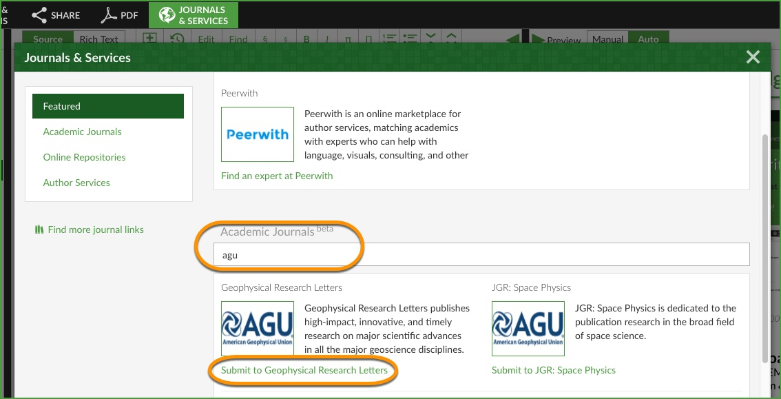 Overleaf academic journal search