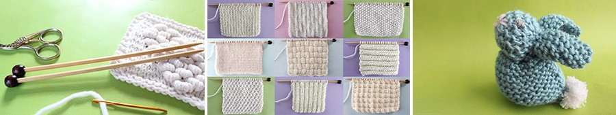 Nine knitted swatches in knit and purl textures on multi-colored backgrounds in white yarn on straight knitting needles