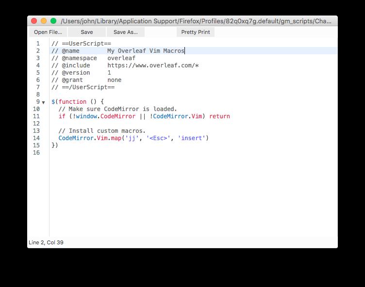 How can I define custom Vim macros in a vimrc file on Overleaf