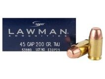 Speer LAWMAN SPEER 45 GAP 185 GR TMJ $64.99 FOR 4 BOX 200 ROUNDS