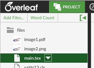 Word Count button in the Project menu