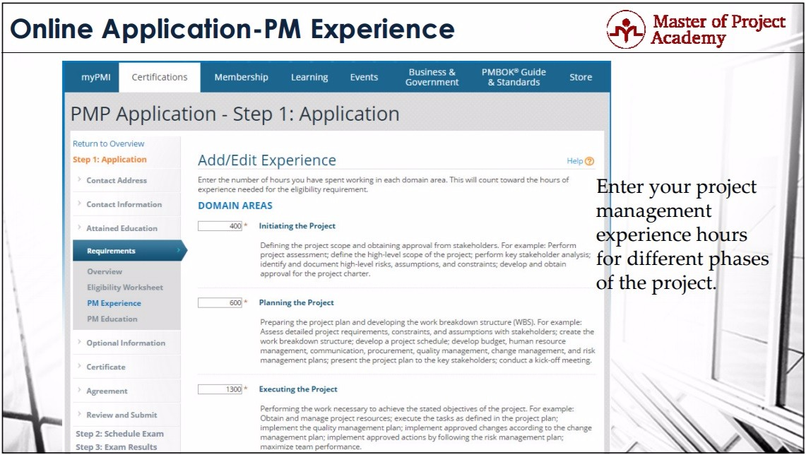 Master Of Project Academy 2018 Online Pmp Application Steps