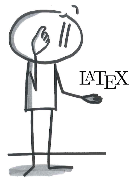 Cartoon showing a researcher confused by LaTeX