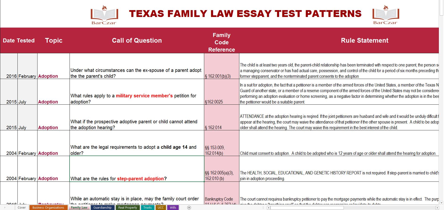 florida bar essay sample answers