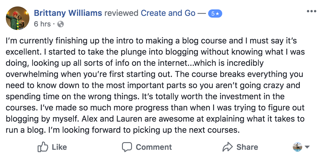 brittany build your blog testimonial