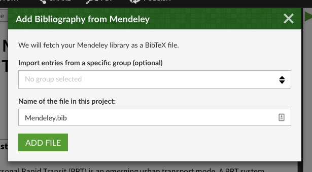 Import a mendeley group or your whole library into a bib file on Overleaf
