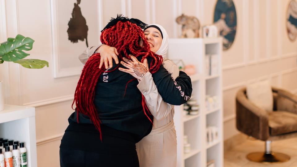 Hugging Maimouna Youssef