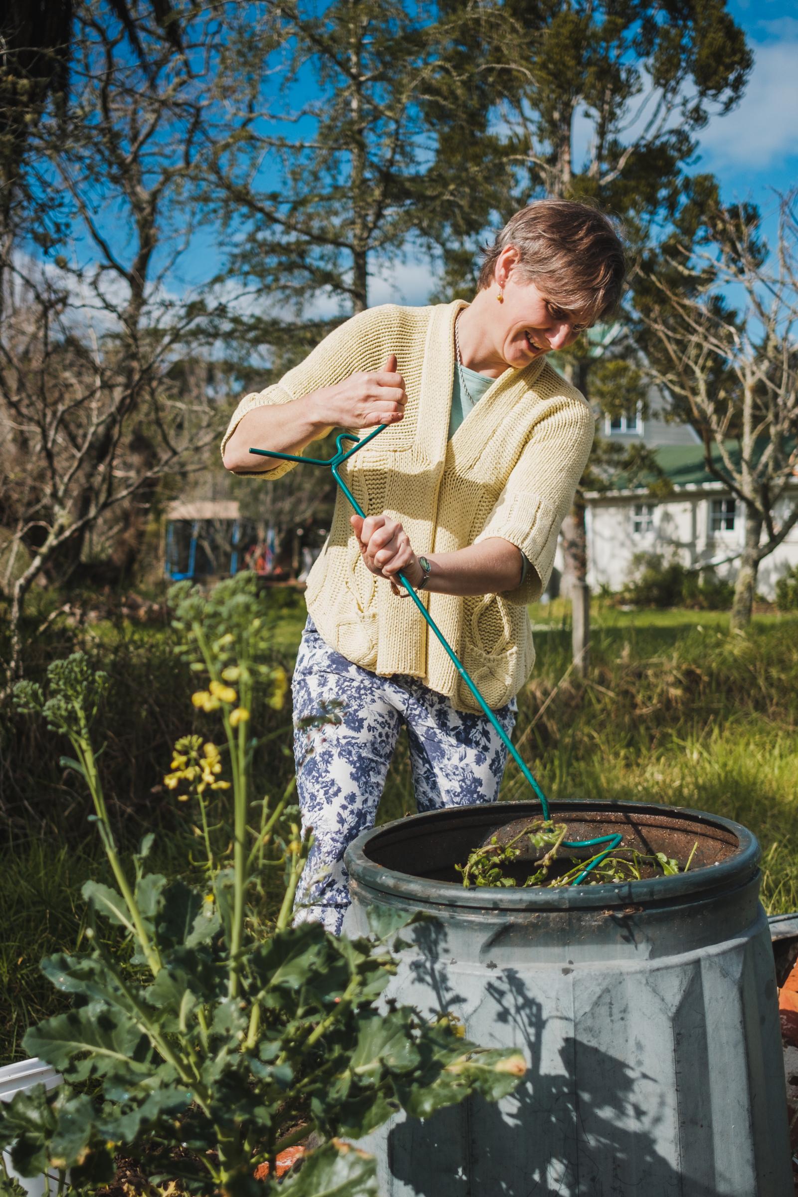 Katrina with compost aerator