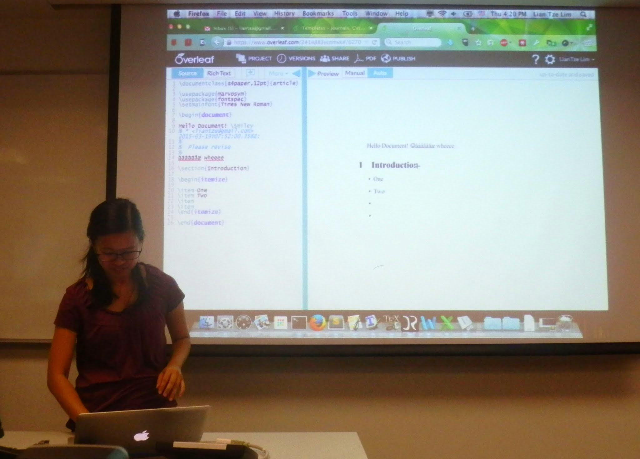Lian Tze Lim teaching using Overleaf during her LaTeX Workshop for Linguists at HSS NTU