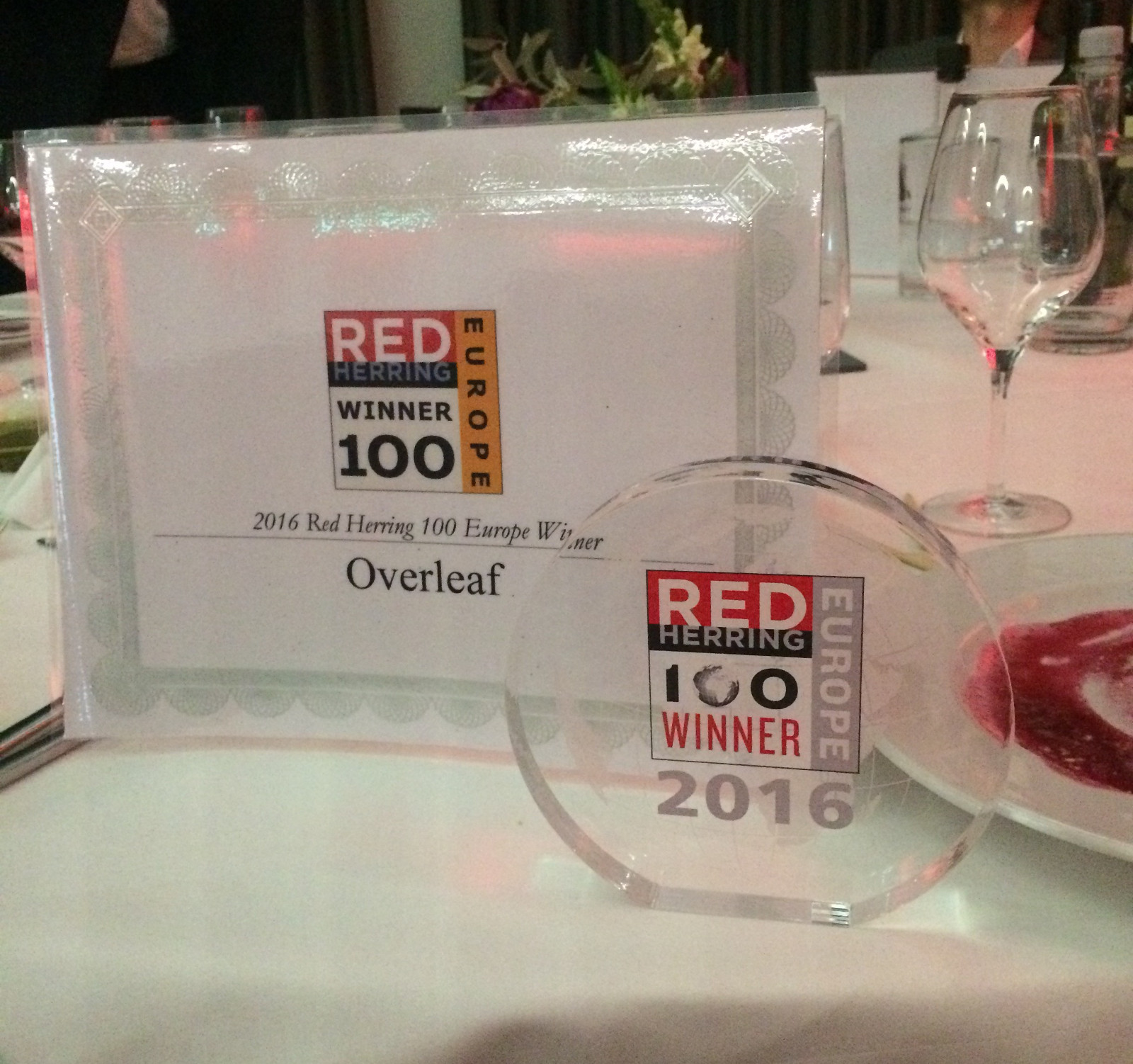 Red Herring Top 100 Europe Winner Overleaf Award Night Photo