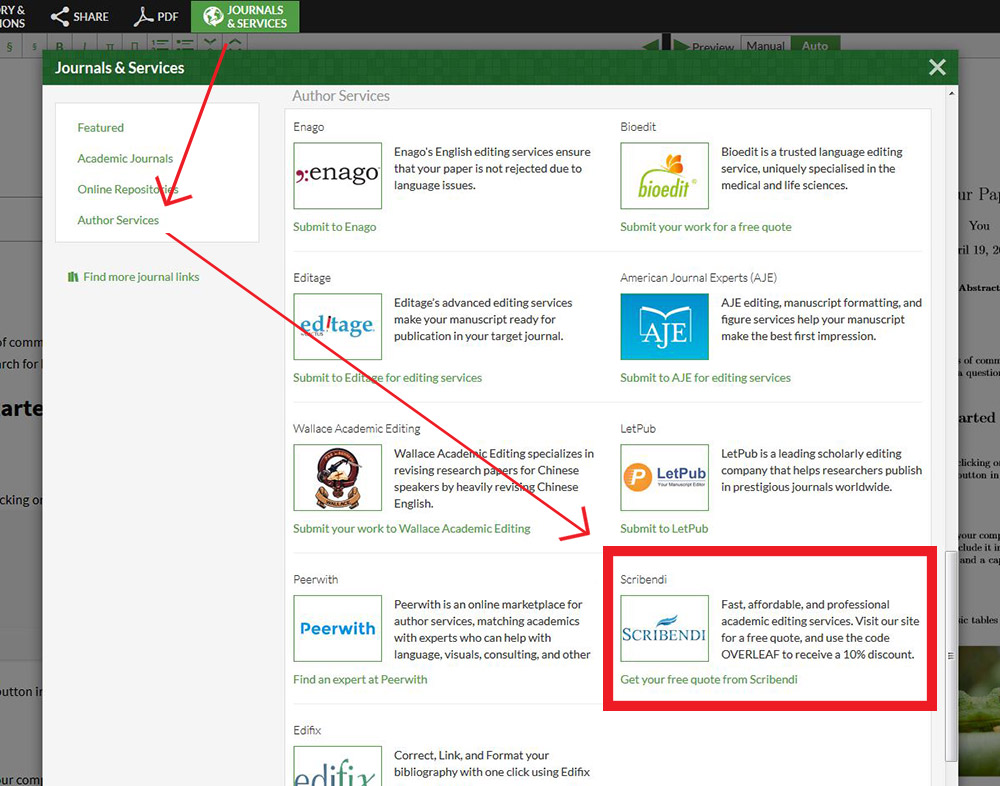 Image showing Scribendi listed in Overleaf's Journals and Services section.