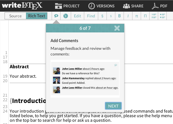 Writelatex comment review feedback tutorial screenshot