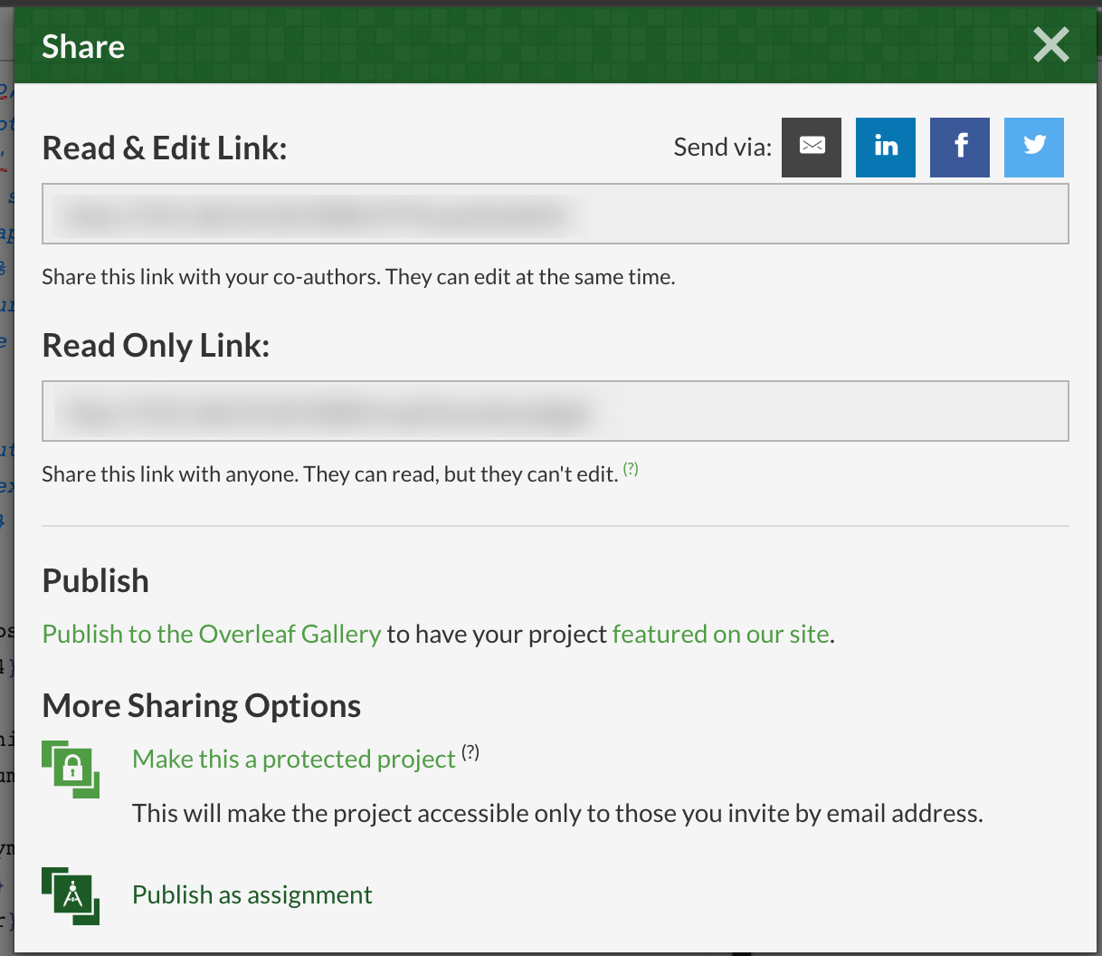 Publish as assignment on Overleaf