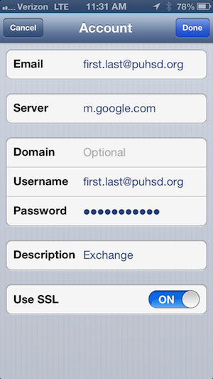 iOS Exchange Settings