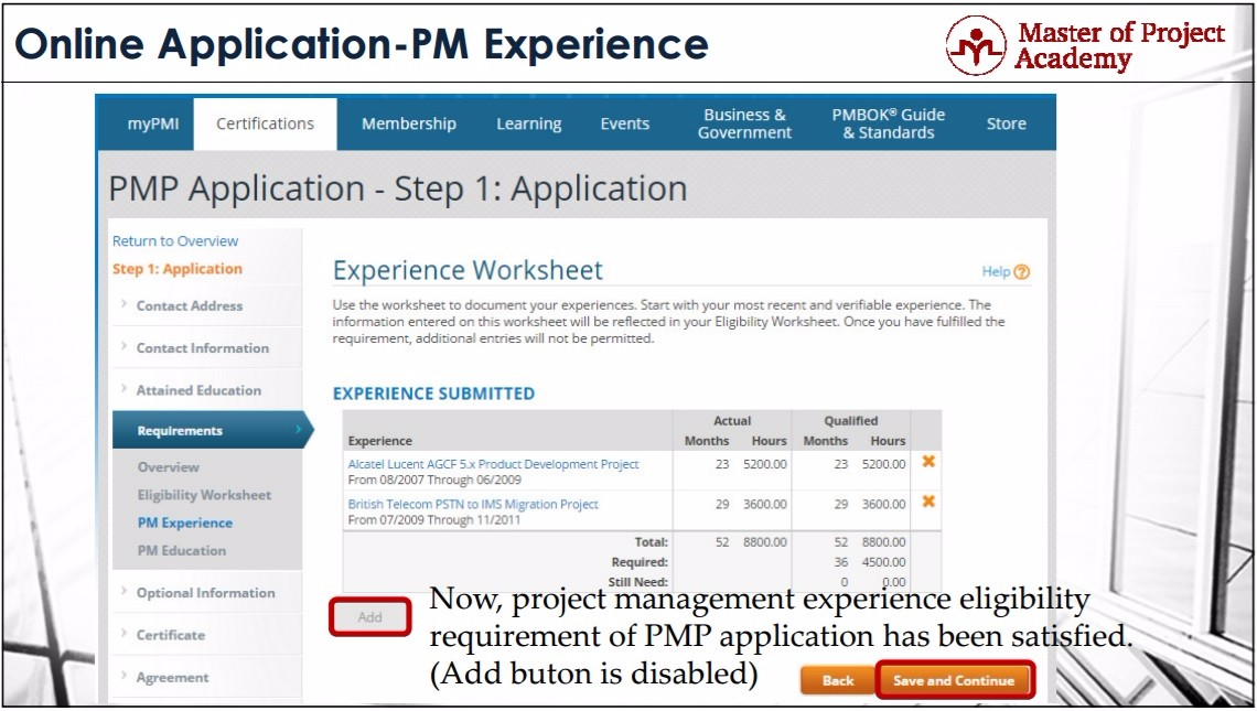 online pmp application steps