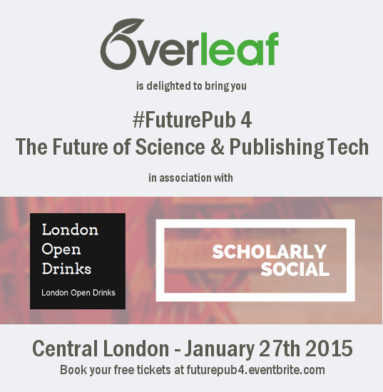 Overleaf writelatex futurepub scholarly social london open drinks event logo January 27th